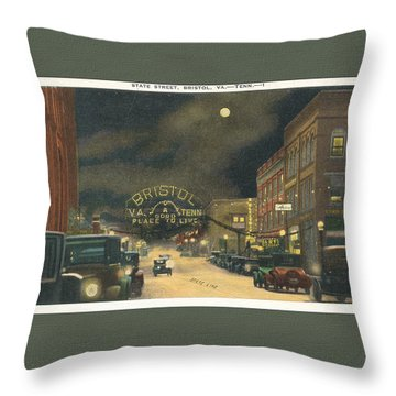 State Street Bristol Va Tn 1920's - 30's Throw Pillow