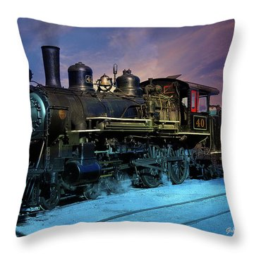 Steam Engine Nevada Northern Throw Pillow