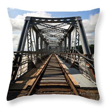 Steel Railway Bridge Over The River Throw Pillow