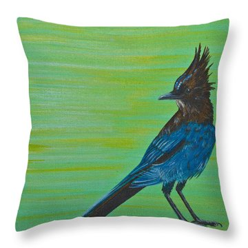 Stellar Jay Throw Pillow by Jennifer Lake