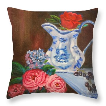 Throw Pillow featuring the painting Still Life With Blue And White Pitcher by Jenny Lee