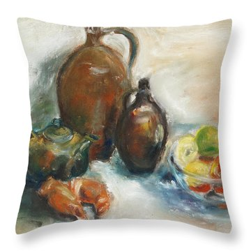 Still Life With Earthen Jugs Throw Pillow by Barbara Pommerenke