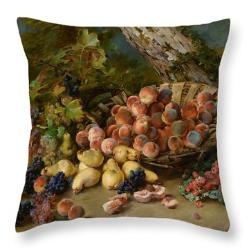 Still Life With Fruits Throw Pillow by Madeleine Jeanne Lemaire