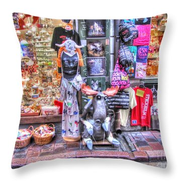 Throw Pillow featuring the pyrography Stokholm Swiss Street by Yury Bashkin