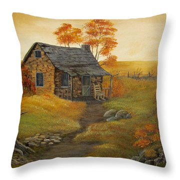 Stone Cabin Throw Pillow by Kathy Sheeran