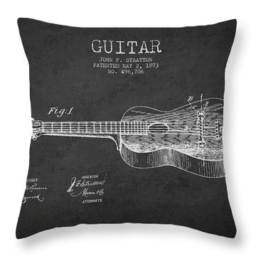Stratton Guitar Patent Drawing From 1893 Throw Pillow by Aged Pixel