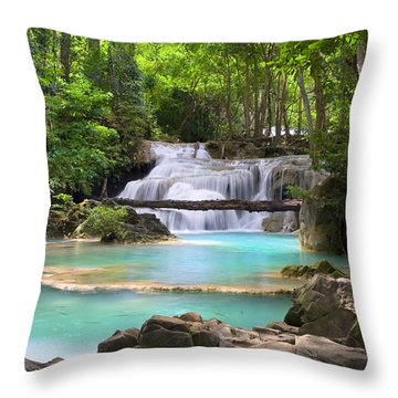 Stream With Waterfall In Tropical Forest Throw Pillow