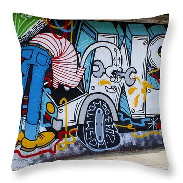 Street Art Valparaiso Chile 15 Throw Pillow by Kurt Van Wagner