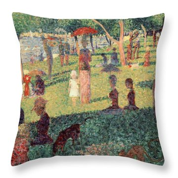 Study On La Grande Jatte Throw Pillow by Georges Seurat