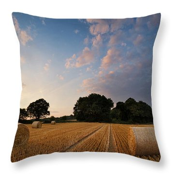 Stunning Summer Landscape Of Hay Bales In Field At Sunset Throw Pillow by Matthew Gibson