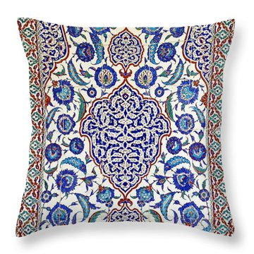Sultan Selim II Tomb 16th Century Hand Painted Wall Tiles Throw Pillow