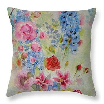 Throw Pillow featuring the painting Summer Border by Beatrice Cloake