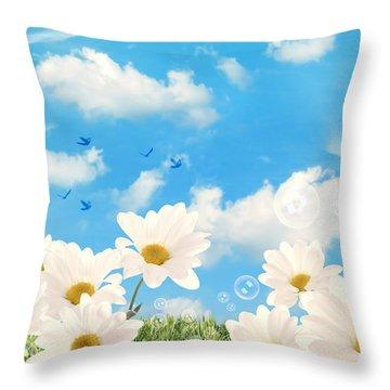 Summer Daisies Throw Pillow by Amanda Elwell