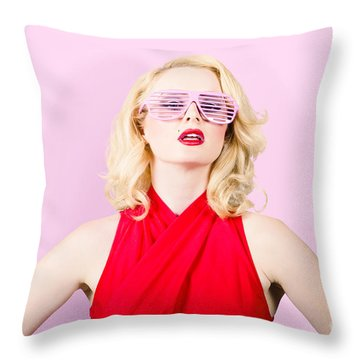 Summer Fashion Model. Girl In A Pink Sun Glasses Throw Pillow