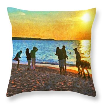 Summer Sunset At The Beach Throw Pillow