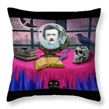 Summoning Edgar Allan Poe Throw Pillow by Glenn Holbrook