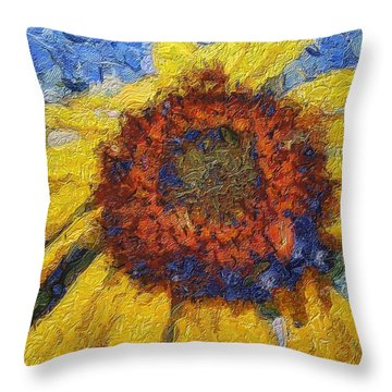 Throw Pillow featuring the painting Sunflower by Irina Hays