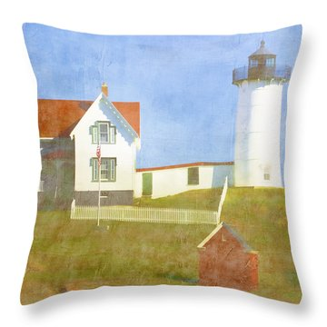 Sunny Day At Nubble Lighthouse Throw Pillow