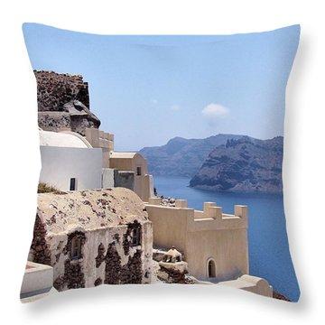 Sunny Santorini Throw Pillow