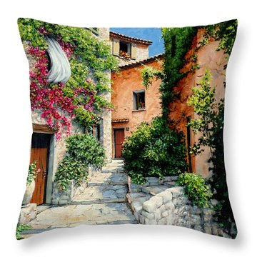 Throw Pillow featuring the painting Sunny Walkway by Michael Swanson