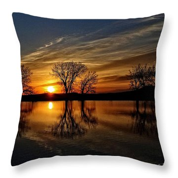Sunrise At The Fishing Hole Throw Pillow