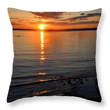 Sunrise On Grand Traverse Bay Throw Pillow by Diane Lent