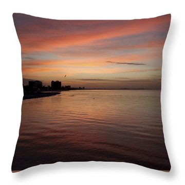 Throw Pillow featuring the photograph Sunrise Over Fort Myers Beach Photo by Meg Rousher