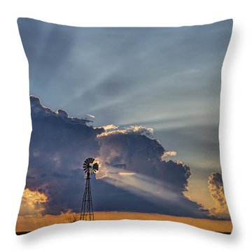 Sunset And Windmill Throw Pillow by Rob Graham