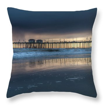 Approaching Storm Huntington Beach Pier Throw Pillow