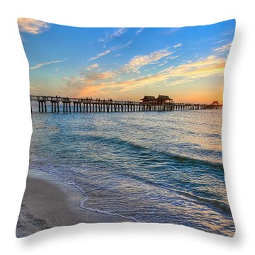 Sunset At Naples Pier Throw Pillow