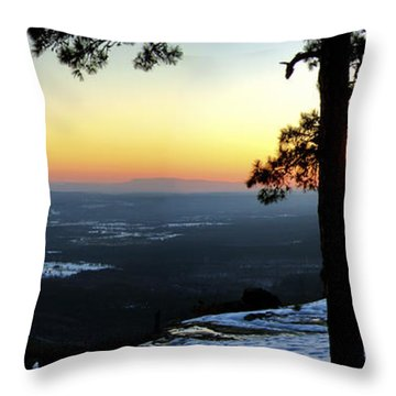 Throw Pillow featuring the photograph Sunset Atop Snowy Mt. Nebo by Jason Politte
