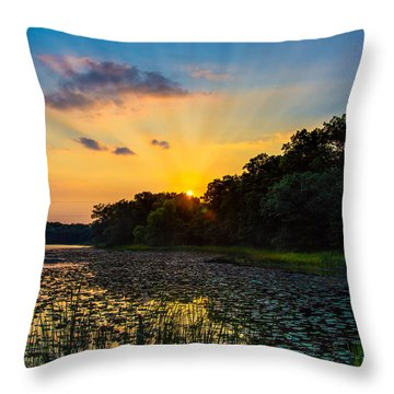 Sunset On Lake Masterman Throw Pillow