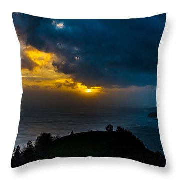 Sunset Over Blue Throw Pillow