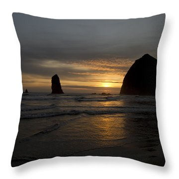 Sunset Over Haystack Rock In Cannon Beach Throw Pillow by David Gn