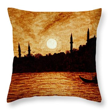 Throw Pillow featuring the painting Sunset Over Istanbul Original Coffee Painting by Georgeta  Blanaru