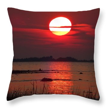 Sunset Over Lake Michigan Throw Pillow