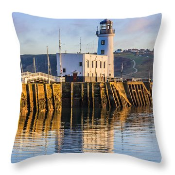 Sunset Over Scarborough Lighthouse Throw Pillow