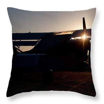Sunset Plane Throw Pillow by Paul Job