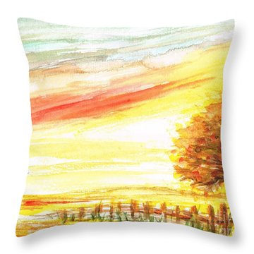 Throw Pillow featuring the painting Sunset by Teresa White
