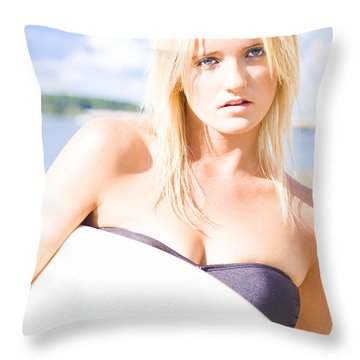 Surfboarder Holding Surf Board On Sports Vacation Throw Pillow