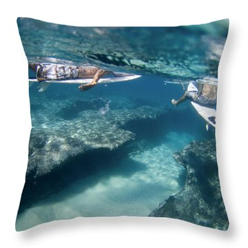 Surfers Over Reef. Throw Pillow by Sean Davey