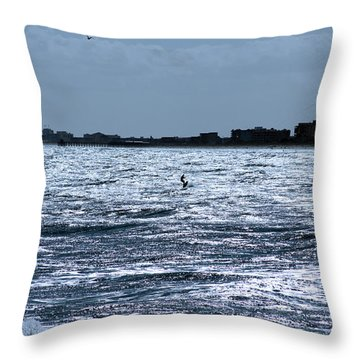 Throw Pillow featuring the photograph Surfing In Blue by Chris Thomas