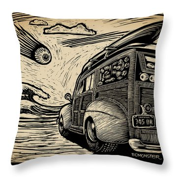 Surf's Up Throw Pillow by Bomonster