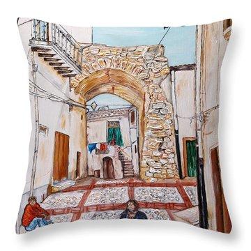 Throw Pillow featuring the painting Sutera Rabato Antico by Loredana Messina