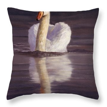 Swan Throw Pillow by David Stribbling
