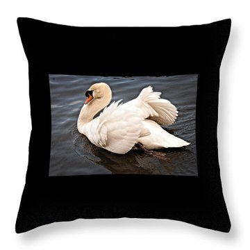 Throw Pillow featuring the photograph Swan One by Elf Evans