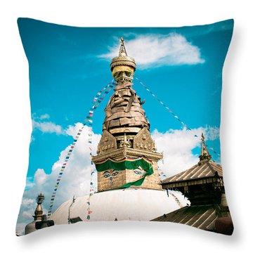 Swayambhunath Stupa In Nepal Throw Pillow