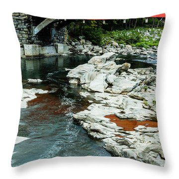 Taftsville Covered Bridge Vermont 3 Throw Pillow