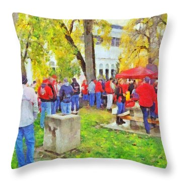 Tailgating Outside Of The Stadium. 2 Throw Pillow