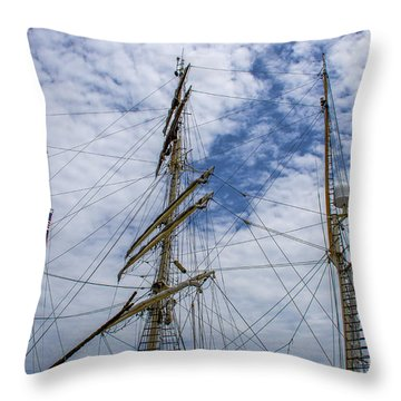 Tall Ship Three Mast  Throw Pillow by Dale Powell